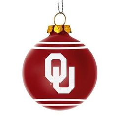 Oklahoma Sooners NCAA 2014 Glitter Logo Glass Ball Ornament