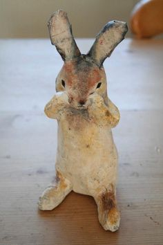 I have created this handmade rabbit a papier mache sculpture. He is inspired my the local nature reserve meadow in Hamble Valley, the meadow is called 'bunny meadows' as it is always full of white tailed rabbits. One of a kind sculpture. He arrives to. Paper Mache Projects, Paper Mache Clay, Paper Mache Sculpture, Paper Mache Crafts, Paper Mache Paste, Clay Crafts, Yarn Crafts, Diy Projects, Origami