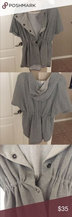Hooded Short Sleeve Sweat Jacket Oversized Heather gray snap front jacket that has an elastic waist. So adorable over any exercise outfit. Large hood. Sleeves hang over sides of arms loosely. Front side pockets. Gently used. Nordys Stem brand. Stem Activewear Tops Sweatshirts & Hoodies