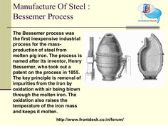 The Bessemer process was the first inexpensive industrial process for the mass production of steel from molten pig iron prior to the open hearth furnace. The key principle is removal of impurities from the iron by oxidation with air being blown through the molten iron.