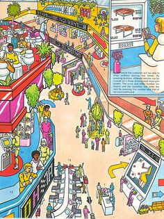 Illustration on what the department store of the future may look like. From a book titled Department Store, it's a career guide from 1979.