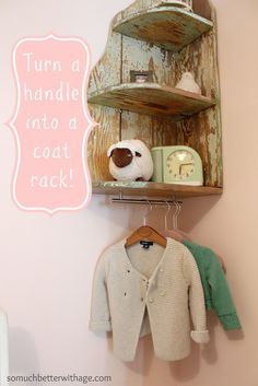 Cabinet Handle as coat rack- so clever!