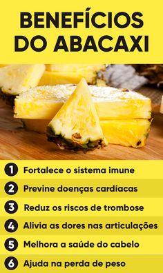 O abacaxi é uma fruta tropical da família das frutas cítricas, como a laranja e o limão, que são ricas em vitamina C e outros antioxidantes, que são essenciais para garantir a saúde. Smoothies Detox, Smoothie Recipes, Dieta Flexible, Fitness Tracker, Healthy Life, Healthy Eating, Fruit Benefits, Cooking Recipes, Healthy Recipes