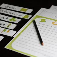 Free printable St. Patrick's Day writing pack. Colorful story starters, stationery and word cards for St. Patty's Day