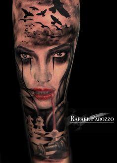 Vampire Girl Tattoo by Rafael Fabozzo Music Tattoos, Arrow Tattoos, Rose Tattoos, Body Art Tattoos, Tattoo Drawings, Tattoo Girls, Girl Tattoos, Tattoos For Guys, Tatoos