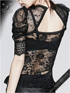 Lyricism - Punk Rave top Women's Gothic style transparent lace blouse with black rose pendant See through laced fabric with…