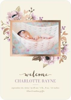 This rose gold foil stamped floral birth announcement card is the perfect way to celebrate your new baby girl. Send a shimmering welcome that your friends and family will love.