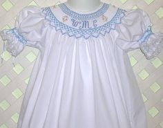 Smocked Bishop Dress with Monogram Smocking Blue on White or White on Blue