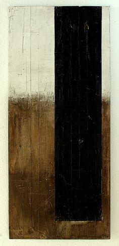CHRISTIAN HETZEL black balk - 2013 - 114,5 x 50 x 2,1 cm - mixed media on massive wooden board