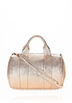 ALEXANDER WANG ROCCO IN PEBBLED ROSE GOLD METALLIC WITH ROSE GOLD