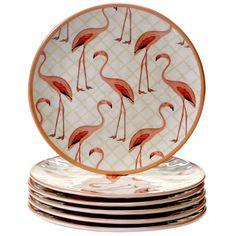 Certified International Floridian Flamingo Round Salad Plates