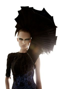 Sculptural Fashion - headpiece with dramatic 3D structure rising up from the shoulder; wearable art // Arachne SS13