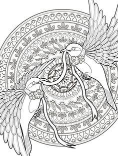 Ausmalbild mit Vögeln und geometrischen Motiven