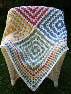 Soft White and Multicolor Granny Square Throw by ThelmasGifts on Etsy