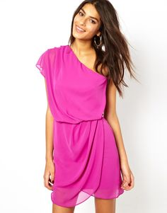 Mini Dress With Drape One Shoulder