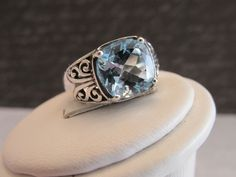 Sterling Silver Pineapple Cushion Cut Blue Topaz Ring Size 7