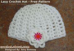 9 Free Crochet Beanie Hat Patterns: Easy Lacy Crochet Beanie With Optional Flower Motif