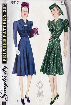 1940s Misses Dinner Dress Vintage. Short sleeves are almost like the 40s pattern I have.