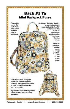 Back At Ya Mini Backpack Sewing Pattern | Sewing patterns, Bags ...