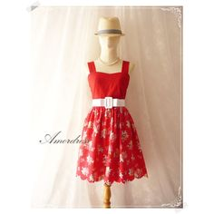 Red Floral Dress Vintage Inspired Cottage Chic Flower Dress Party... ($39) ❤ liked on Polyvore