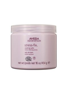 BATH PRODUCT  The lavender-scented Aveda Stress-Fix Soaking Salts require just ten minutes to soothe skin and loosen muscles.