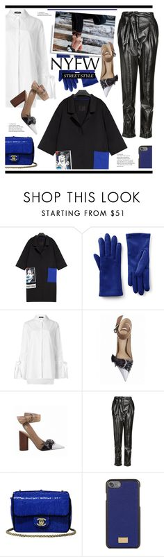 """NYFW Street Style: Day One"" by hamaly ❤ liked on Polyvore featuring Lands' End, Topshop, Chanel, Dolce&Gabbana, StreetStyle, NYFW and ootd"