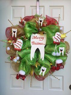 Tooth Christmas wreath for Christmas dental decor.