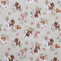 cute deer squirrel bunny Kokka linen fabric 2