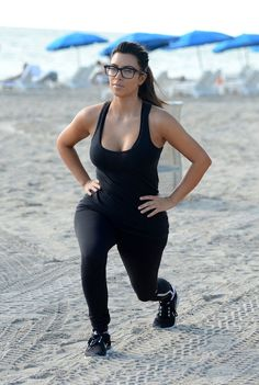 Kim Kardashian flaunts curves in black workout wear in Miami