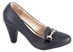 Pantofi cu toc - Pantofi negri cu toc 98970-2N - Zibra