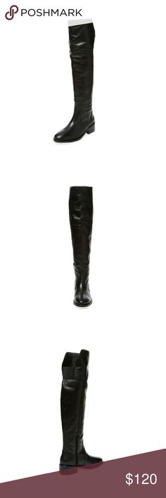 """Alex + Alex Etamo Over The Knee Boot Brand new in box black leather over the knee riding boots by Gilt's in-house brand Alex +Alex. Made in Spain.  - Leather and suede upper - Inside zip closure - Elasticized panel at back - Stacked heel - Leather insole  Measurements: Heel height 1 3/4"""", platform sole 1/2"""", shaft height 19 1/2"""", calf circumference 13"""" Alex + Alex Shoes Over the Knee Boots"""