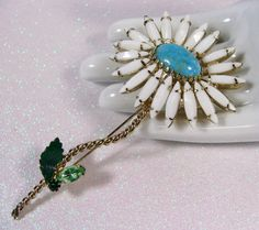 Vtg Schreiner NY Unsd Inverted Navette Rhinestone Milk Glass Flower Brooch Pin   eBay