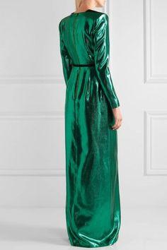 Roland Mouret - Wrap-effect Lamé Gown - Emerald Fashion Forms, Keep Jewelry, Roland Mouret, Bottega Veneta, Emerald, Gowns, Zip, Wool, Vestidos