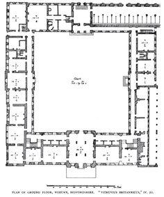 Woburn, plan from Vitruvius Britannicus