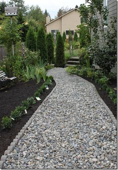 Rock path with scalloped edging
