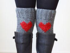 Heart Knit Boot Cuffs, Love Heart Leg Warmers, Knee socks for boots, Womens legwarmers, Crochet heart socks
