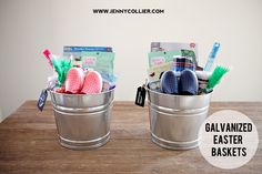 Galvanized Bucket Easter baskets with Chalkboard tags | jennycollier.com