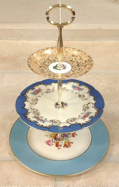 3 tier cake stand Blue and Gold for by HelensRoyalTeaHouse on Etsy, $110.00   https://www.facebook.com/HelensRoyalTeaHouse?ref=tn_tnmn  http://www.etsy.com/shop/HelensRoyalTeaHouse