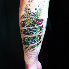 3d Ripped Skin Dna Strand Tattoo For Guys On Wrist