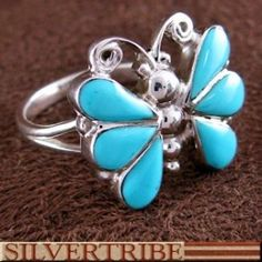 Turquoise Jewelry   Southwest Jewelry   Turquoise Inlay Ring   Butterfly Ring - $39.59