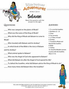 Enjoy our free printable Bible Quiz: Balaam. Fun for kids to print and test their knowledge. Feel free to share with others, too! Sunday School Activities, Bible Activities, Sunday School Lessons, Bible Study For Kids, Bible Lessons For Kids, Kids Bible, Bible Quiz, Bible School Crafts, Genius Quotes