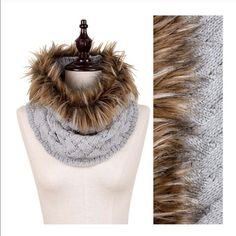 Woven Knit Faux Fur Scarf Gorgeous and unique knit infinity scarf. Featuring faux fur accent. Colors Ivory or grey. With with the fur up around your face or down over the chest. Super chic new look 2015/16 Threads & Trends Accessories Scarves & Wraps