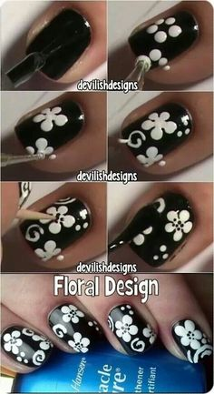 Black white monocrome flower how to nail art design