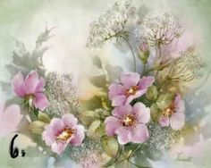 Study of Wild Roses with Queen Ann's Lace for china painters and porcelain artists, available online in seminars and studies from Charlene Ferrell Whitler porcelain artist and teacher