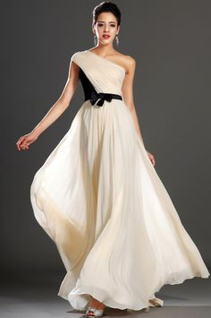 osell wholesale dropship Chiffon Satin Pleated One Shoulder Sleeveless Floor Length A Line Evening prom Dresses $75.28