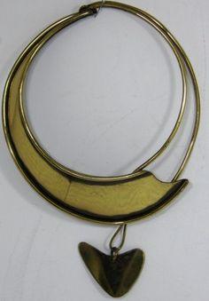 ART SMITH 1950's Biomorphic Abstract Modern Brass Choker Collar Necklace