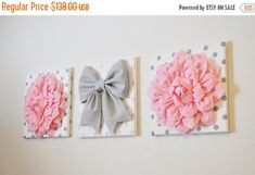 SALE Baby Decor Set of THREE 16 x 16 size Wall Decor by bedbuggs