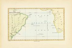 """""""Map of the South Atlantic Ocean"""" Hand-colored wood engraving by John Charles Melliss London, 1875 Original antique print For a 30% discount enter MAPS30 at chekout On the South American continent we see Brazil and some of the coast line of Argentina. Africa's West Coast is shown from the Gulf of Guinea to the Cape. Antique Maps, Antique Prints, John Charles, House Map, St Helena, Wood Engraving, Atlantic Ocean, Hand Coloring, Continents"""