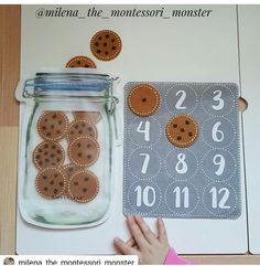 Cookie Counting (by Lusi Dural, Milena the Montessori Monst Toddler Quiet Book Page - Learn to Count Cookies kindergarten math - sandrine escoffier - This Preschool Learning Activities, Infant Activities, Kindergarten Math, Preschool Activities, Teaching Kids, Montessori Preschool, Montessori Education, Preschool Curriculum, Homeschool