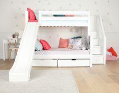Bunk Beds For Girls Room, Bunk Bed Rooms, Loft Bunk Beds, Bunk Beds Built In, Modern Bunk Beds, Bunk Beds With Stairs, Full Bunk Beds, Kid Beds, Girls Bedroom